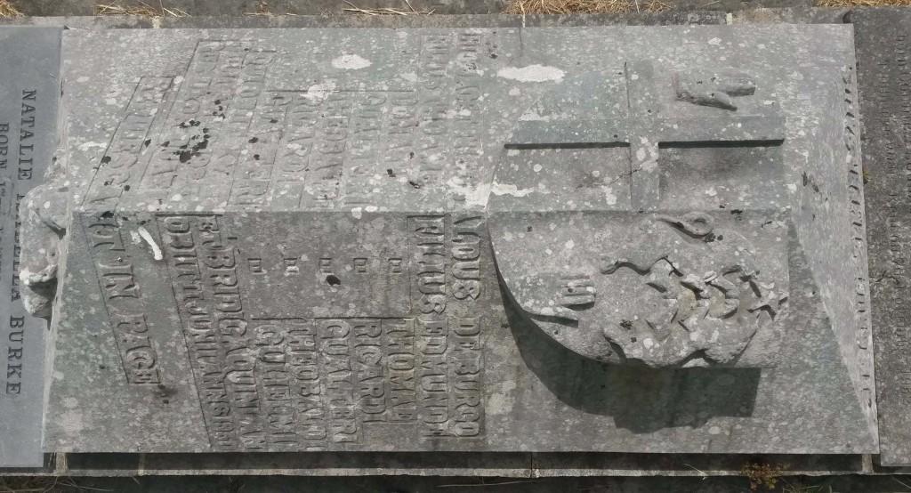 Bourke graveslab at Glenkeen graveyard