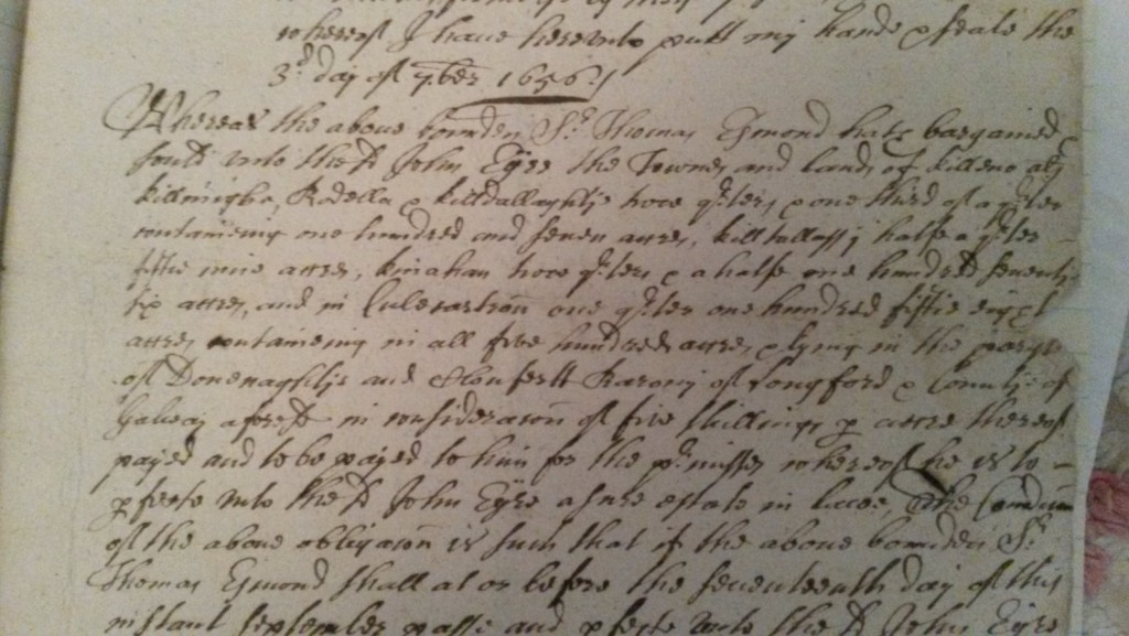 Joh Eyre's purchase of lands of Killeno etc later Eyrecourt from Sir Thomas Esmonde Bart dated 1656