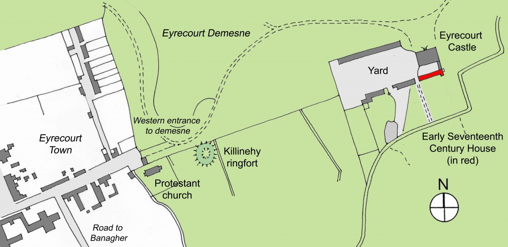 Location of earlier house in relation to Eyrecourt Castle