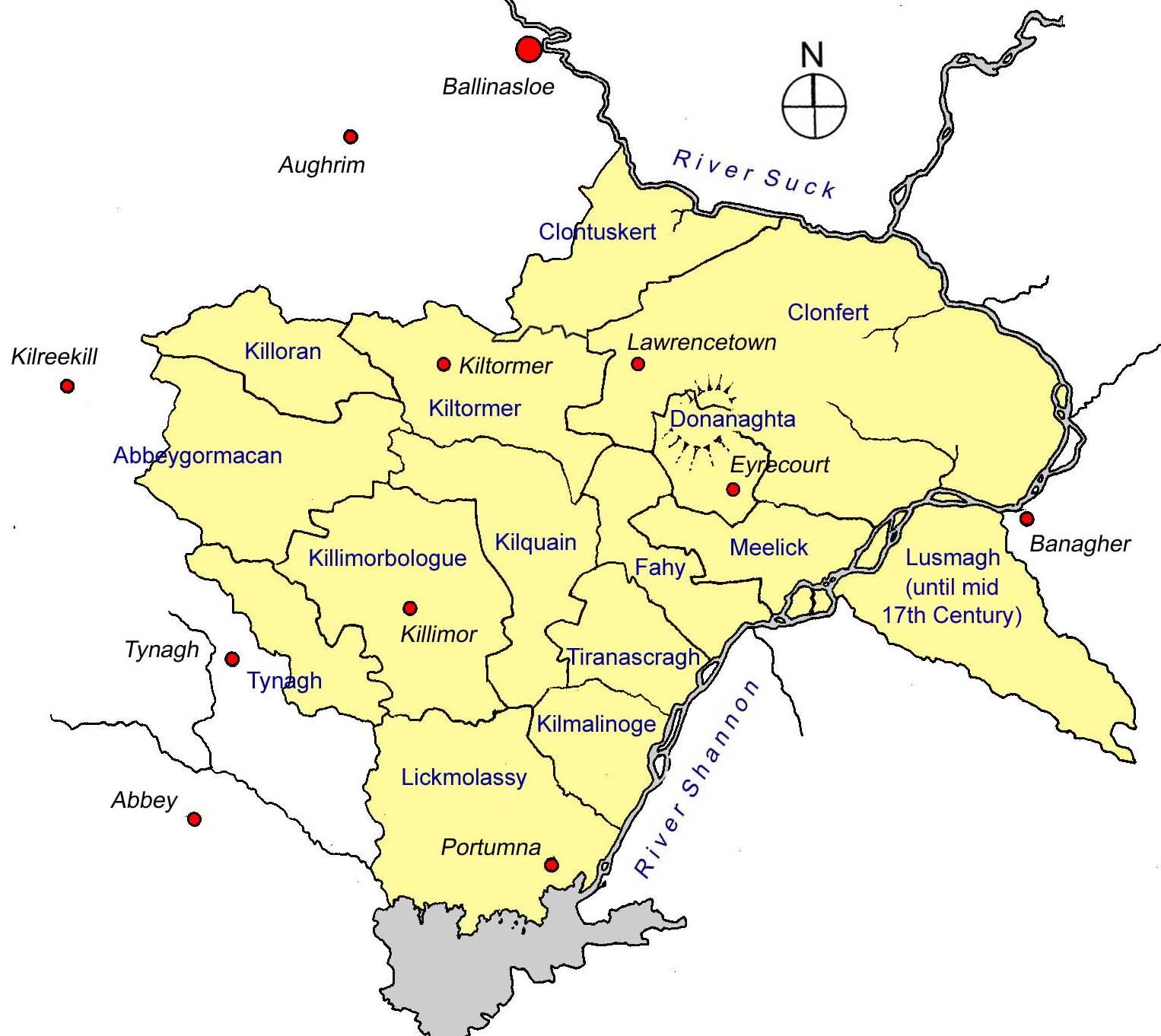 Map Of Ireland Galway County.Barony Of Longford County Galway Burke S East Galwayburke S East