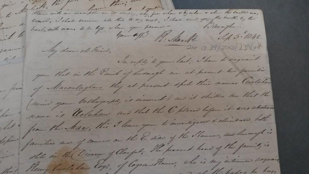 Richard Moncks letter dated 5th September 1842