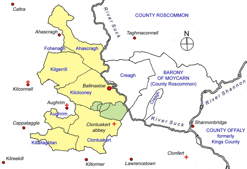 Townlands wherein the Coffeys held lands in the early 17th Century