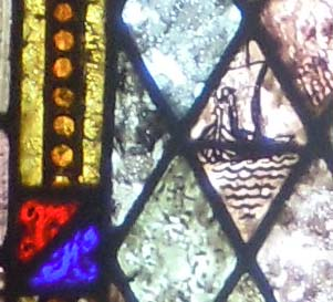 detail of ship on window of St Columbkille