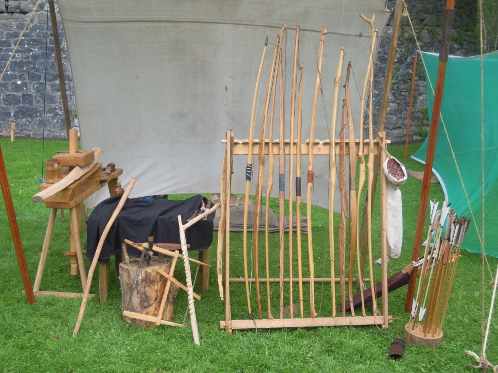 range of traditional wooden bows on display