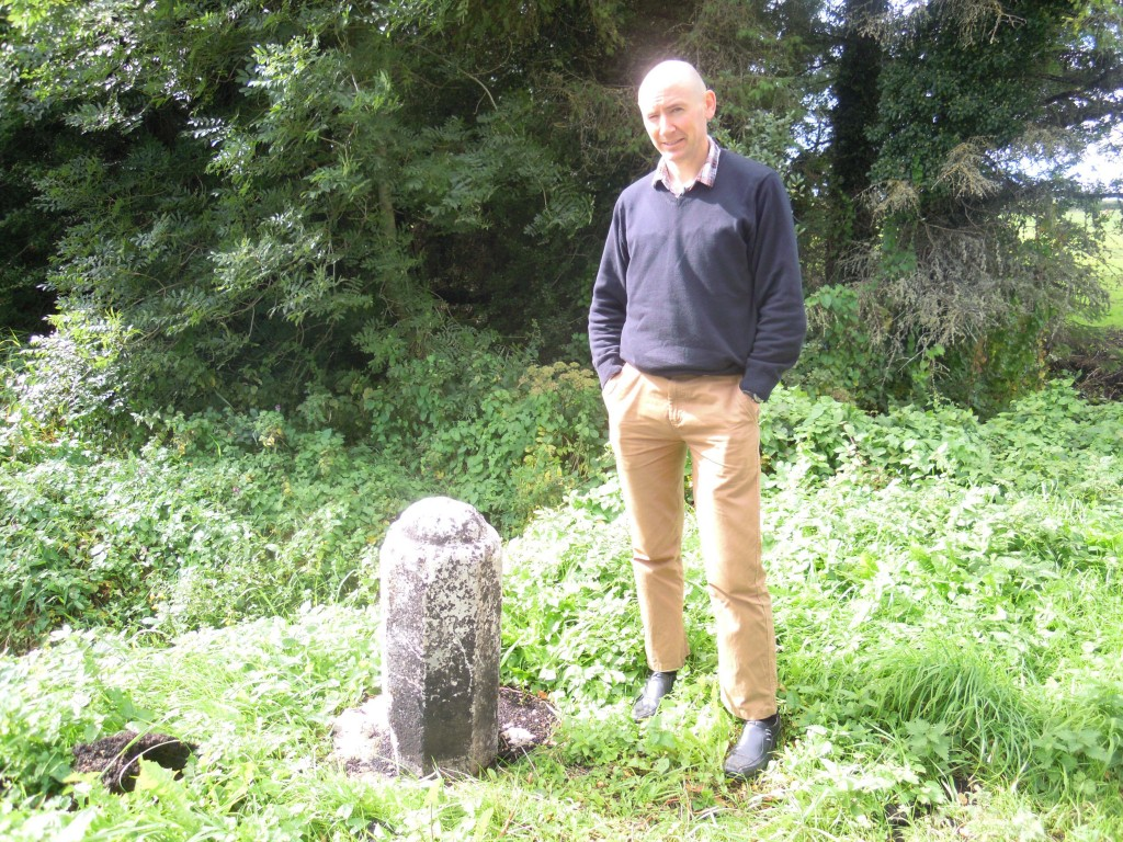 Richard Campbell beside the reputed remains of the cross
