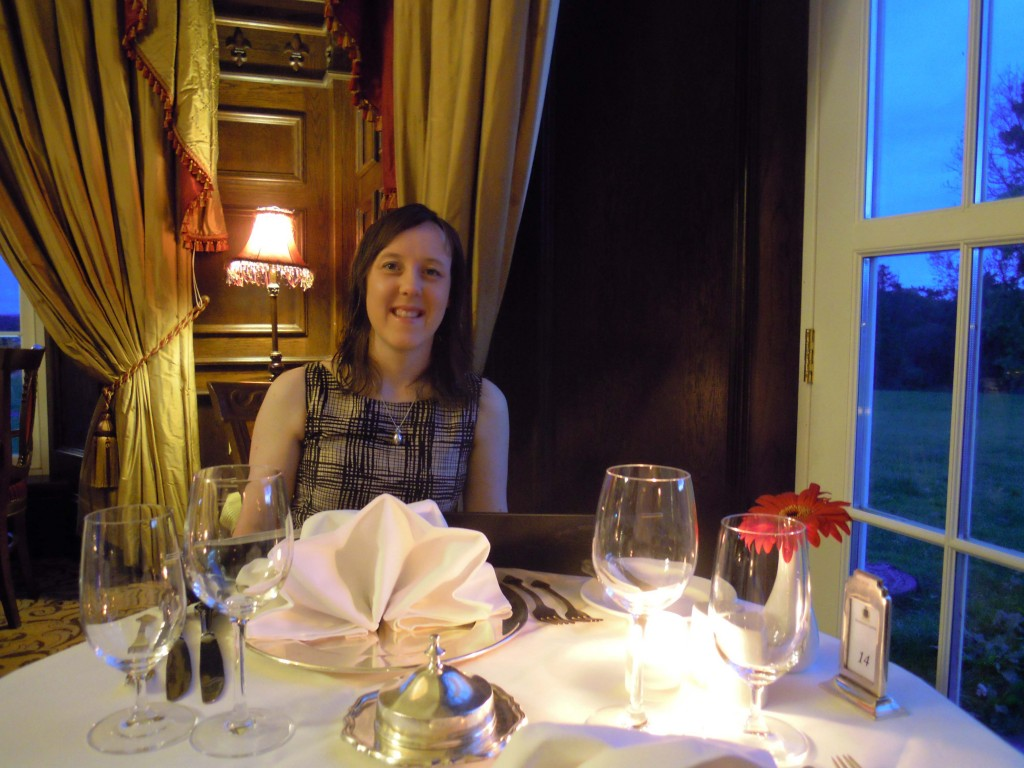 Alison at dinner, Kilronan Castle