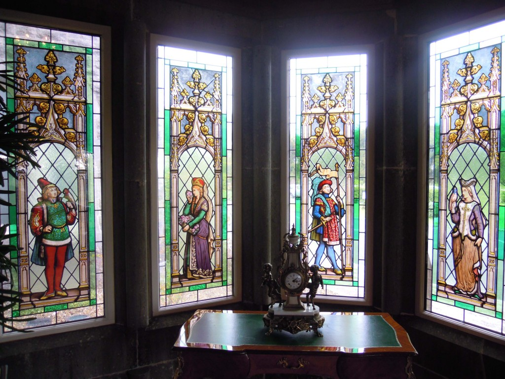 stained glass, entrance porch, Kilronan Castle