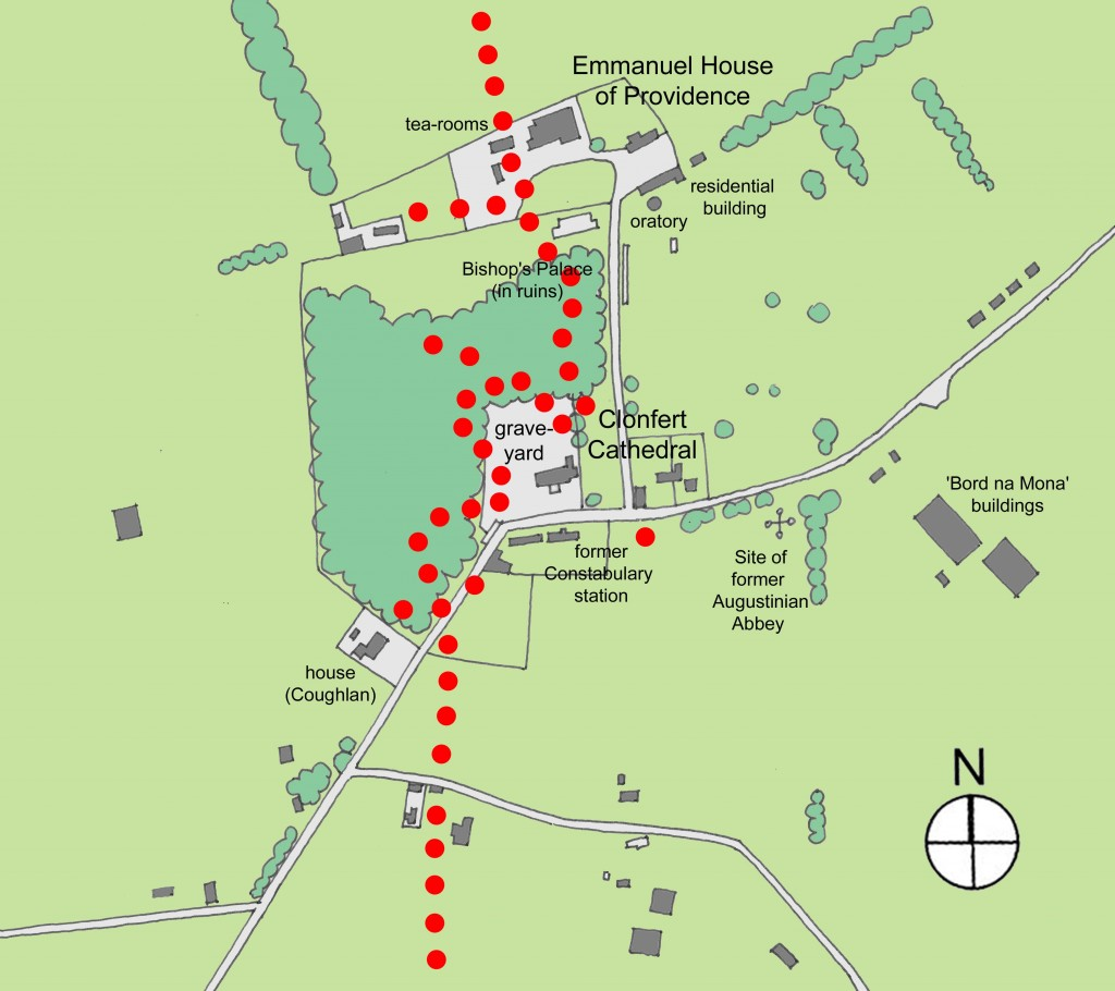 route of the tornado about Clonfert Cathedral