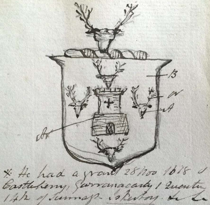 sketch of arms of Hannin of Oldscastle, parish of Abbeygormacan