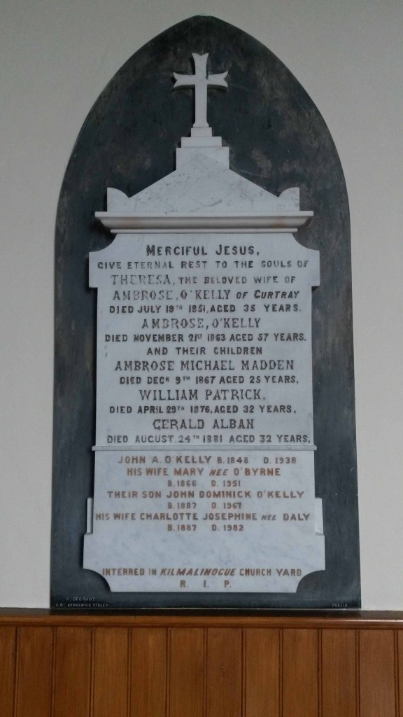 O Kelly memorial at Boula church