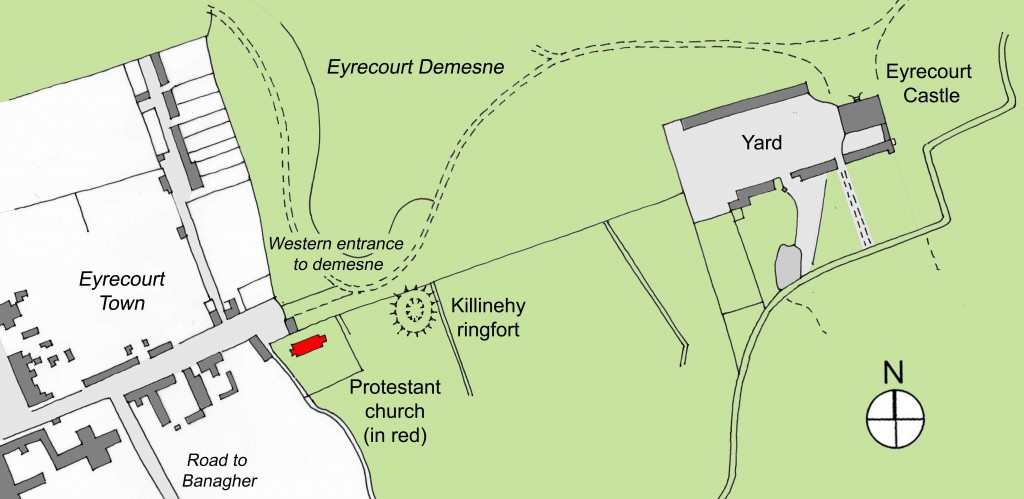 location of 1677 Protestant church at Eyrecourt village