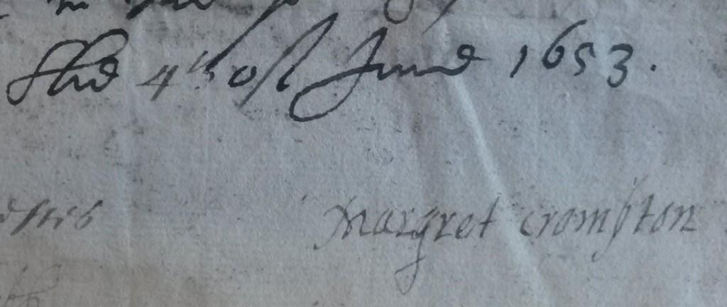 Margaret Crompton signature 1653