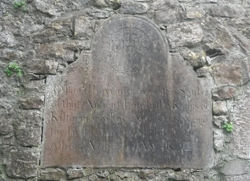 Kelly of Kiltormer wall memorial Kilconnell