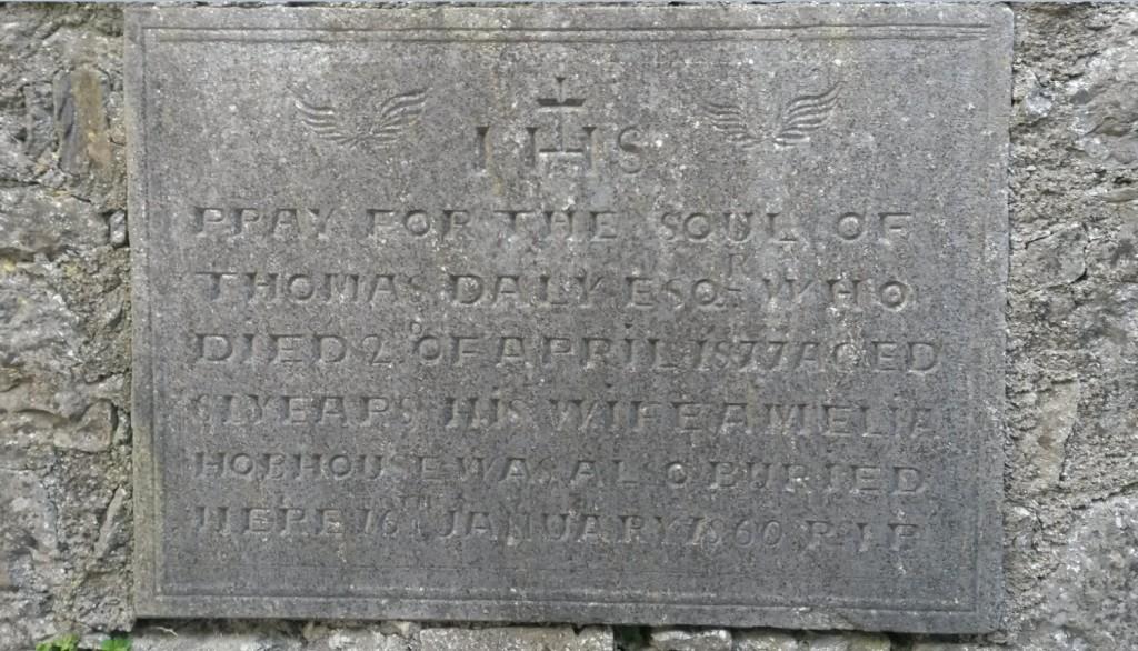 Thomas Daly and Amelia Hobhouse stone Kilconnell